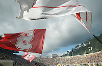 Berkeley- November 22, 2014: Stanford flags wave at the start of the  Stanford vs Cal at Memorial Stadium in Berkeley Saturday afternoon<br /> <br /> The Cardinal defeated the Bears 38 - 17