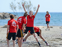 20180302 - LARNACA , CYPRUS :  Belgian Nicky Van Den Abbeele  pictured being happy during a Muscular warm up training session on the beach before a women's soccer game between The Belgian Red Flames and Spain , on friday 2 March 2018 on the CTO Beach in Larnaca , Cyprus . The game will be the second game in group B for Belgium during the Cyprus Womens Cup , a prestigious women soccer tournament as a preparation on the World Cup 2019 qualification duels. PHOTO SPORTPIX.BE | DAVID CATRY