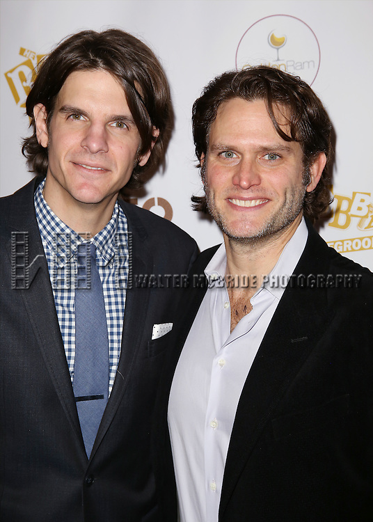 Alex Timbers and Steven Pasquale attends 'The Robber Bridegroom' Off-Broadway Opening Night performance press reception at Laura Pels Theatre on March 13, 2016 in New York City.