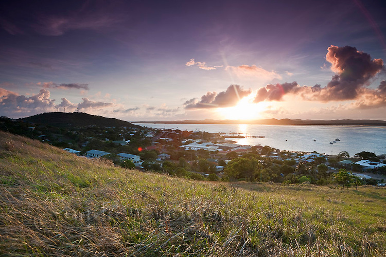 View of the township at Thursday Island at dawn.  Thursday Island, Torres Strait Islands, Queensland, Australia