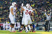 EUGENE, OR - NOVEMBER 1, 2014:  Patrick Skov celebrates his touchdown with teammates during Stanford's game against Oregon. The Ducks defeated the Cardinal 45-16.