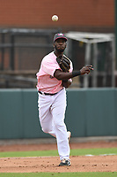 Hickory Crawdads Third baseman Sherten Apostel (13) throws to first base during the game with the Charleston Riverdogs at L.P. Frans Stadium on May 12, 2019 in Hickory, North Carolina.  The Riverdogs defeated the Crawdads 13-5. (Tracy Proffitt/Four Seam Images)
