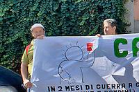 Roma 15 Settembre 2014<br /> Presidio della Rete Romana di Solidariet&agrave; con il Popolo Palestinese davanti alla sede della Federcalcio a Roma che aderisce alla Campagna Cartellino Rosso contro Israele che candida Gerusalemme come citt&agrave; in cui si giochino partite del campionato 2020 della Uefa, come se Gerusalemme fosse una citt&agrave; sua.<br /> Rome September 15, 2014 <br /> Demostration  of the Romana  Network in Solidarity with the Palestinian People outside the headquarters of the Football Association in Rome that adheres to the Red Card Campaign against Israel that candida Jerusalem as a city in which you play league matches of the 2020 UEFA Cup, as if Jerusalem was a city his.