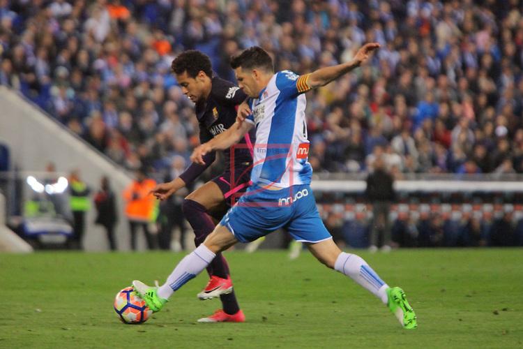League Santander 2016/2017. Game: 35.<br /> RCD Espanyol vs FC Barcelona: 0-3.<br /> Neymar vs Javi Lopez.