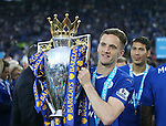 Leicester's Andy King celebrates with the trophy during the Barclays Premier League match at the King Power Stadium.  Photo credit should read: David Klein/Sportimage