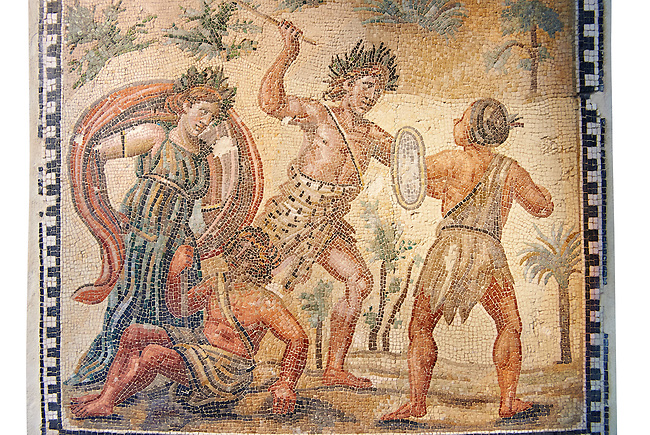 Roman floor mosaic  depicting the struggle between Dionysus and the Indians. From the  Villa de Ruffinella, Tusculum. 4th century AD. National Roman Museum, Rome, Italy