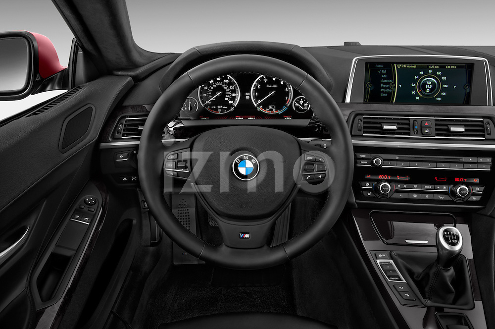 Steering wheel view of a 2014 BMW 6 Series Coupe