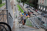Milano 13 Ottobre: si è svolta sabato l'Alleycat race, la gara in bici ispirata ai pony express. Nella foto i partecipanti durante la competizione
