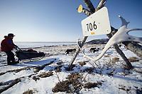 A.Zirkle on Trail to Shaktoolik Near Bering Sea<br /> Tripod Mileage Marker