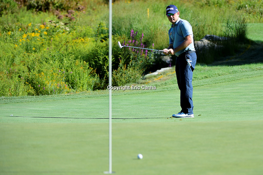 Friday, September 2, 2016: Louis Oosthuizen of South Africa watches his putt on the on the third green during the first round of the Deutsche Bank Championship tournament held at the Tournament Players Club, in Norton, Massachusetts.  Eric Canha/Cal Sport Media
