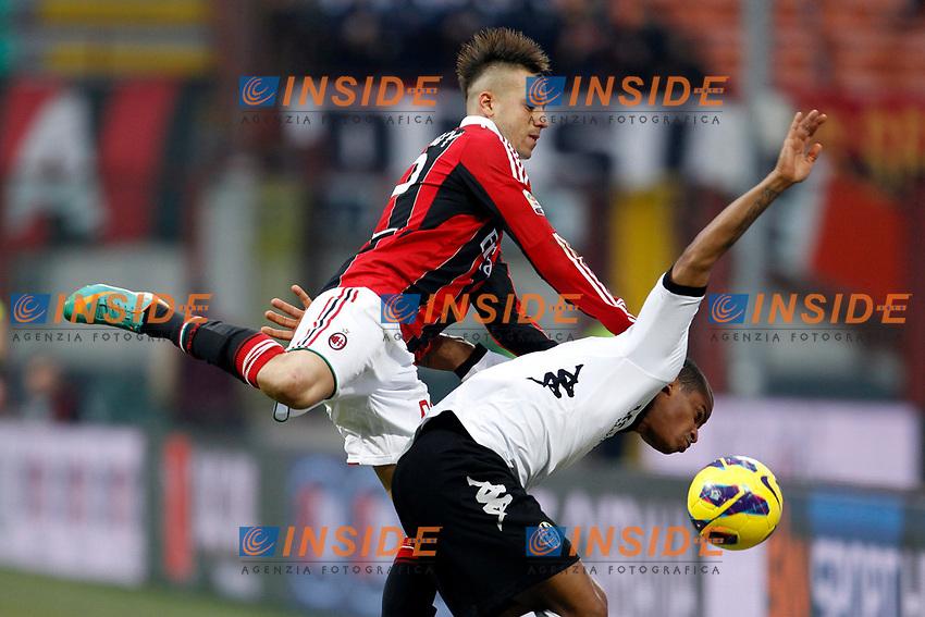 Stephan El Shaarawy Milan, Angelo Siena.Milano 06/01/2013 Stadio San Siro.Football Calcio 2012/2013 Serie A.Milan vs Siena 2-1.Foto  Insidefoto
