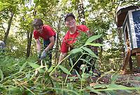 NWA Democrat-Gazette/FLIP PUTTHOFF<br />Nicholas Pleiman, 14, and his mom, Jennifer Pleiman, members of the Young Men's Service League, clear weeds Saturday Sept. 9 2017 at Restoration Village in Little Flock.