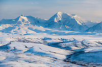 Mount Moffit, 13,020 ft (3,969 m) of the eastern Alaska Range mountains, view looking southwest.
