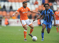Blackpool's Liam Feeney under pressure from Gillingham's Regan Charles-Cook<br /> <br /> Photographer Kevin Barnes/CameraSport<br /> <br /> The EFL Sky Bet League One - Blackpool v Gillingham - Saturday 4th May 2019 - Bloomfield Road - Blackpool<br /> <br /> World Copyright © 2019 CameraSport. All rights reserved. 43 Linden Ave. Countesthorpe. Leicester. England. LE8 5PG - Tel: +44 (0) 116 277 4147 - admin@camerasport.com - www.camerasport.com