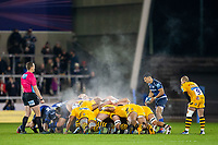 8th November 2019; AJ Bell Stadium, Salford, Lancashire, England; English Premiership Rugby, Sale Sharks versus Coventry Wasps; Embrose Papier of Sale Sharks puts into the scrum on a cold night at the AJ Bell Stadium - Editorial Use