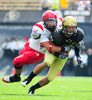 06 September 08: Eastern Washington Linebacker Zach Johnson (41) tackles Colorado wide receiver Scotty McKnight (21). The Colorado Buffaloes defeated the Eastern Washington Eagles 31-24 at Folsom Field in Boulder, Colorado. FOR EDITORIAL USE ONLY