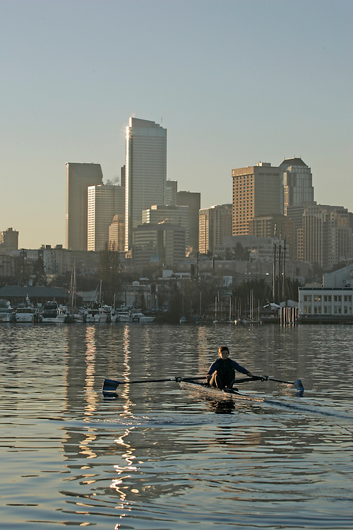 Seattle, Rowing, Olympic-caliber Woman rower in single racing shell, Pocock Rowing Foundation, Lake Union, Washington State, Pacific Northwest, USA,.