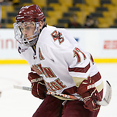Brian Gibbons (BC - 17) - The Boston College Eagles defeated the Northeastern University Huskies 5-4 in their Hockey East Semi-Final on Friday, March 18, 2011, at TD Garden in Boston, Massachusetts.