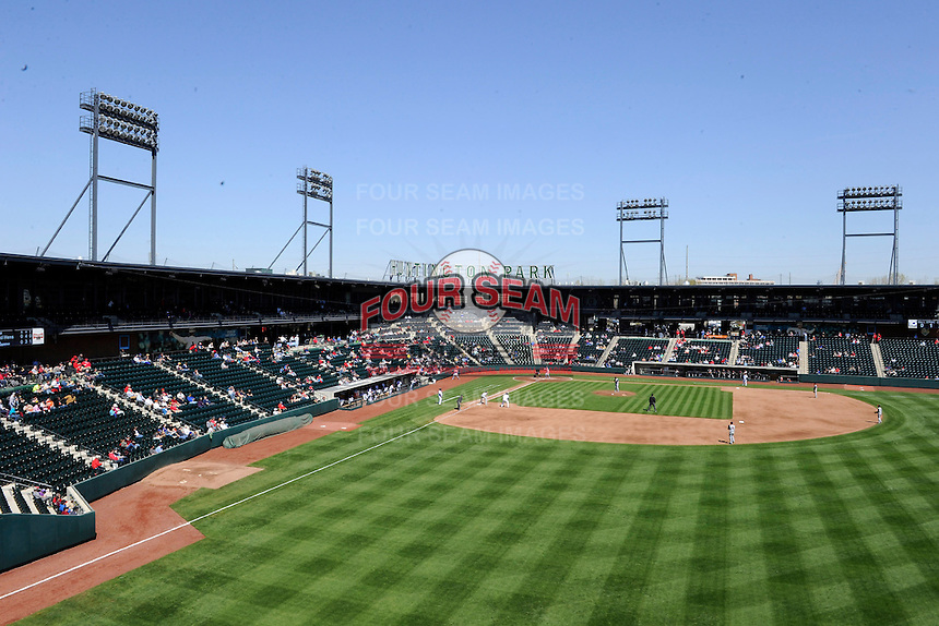 Columbus Clippers stadium view during a game against the Toledo Mudhens on April 22, 2013 at Huntington Park in Columbus, Ohio.  Columbus defeated Toledo 3-0.  (Mike Janes/Four Seam Images)