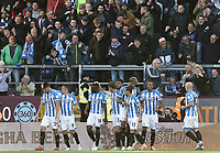 Huddersfield Town's Christopher Schindler (far left) celebrates with team-mates in front of the travelling fans after scoring his side's equalising goal to make the score 1-1<br /> <br /> Photographer Rich Linley/CameraSport<br /> <br /> The Premier League - Burnley v Huddersfield Town - Saturday 6th October 2018 - Turf Moor - Burnley<br /> <br /> World Copyright &copy; 2018 CameraSport. All rights reserved. 43 Linden Ave. Countesthorpe. Leicester. England. LE8 5PG - Tel: +44 (0) 116 277 4147 - admin@camerasport.com - www.camerasport.com