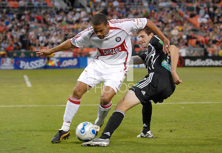 Chicago Fire defender C.J. Brown (2) tries to control the ball while defended by DC United midfielder Joshua Gros (17). The Chicago Fire defeated DC United 3-2, Sunday, October 15, 2006, at RFK Stadium.