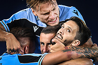 Luis Alberto of SS Lazio (R) celebrates with Sergej Milinkovic-Savic and Ciro Immobile after scoring the goal of 2-1 during the Serie A football match between SS Lazio and ACF Fiorentina at stadio Olimpico in Roma ( Italy ), June 27th, 2020. Play resumes behind closed doors following the outbreak of the coronavirus disease. Photo Antonietta Baldassarre / Insidefoto