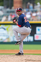 Pawtucket Red Sox relief pitcher Dalier Hinojosa (23) in action against the Charlotte Knights at BB&T Ballpark on August 10, 2014 in Charlotte, North Carolina.  The Red Sox defeated the Knights  6-4.  (Brian Westerholt/Four Seam Images)
