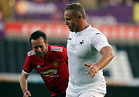 Lee Trundle of Swansea (R) in action during the Swansea Legends v Manchester United Legends at The Liberty Stadium, Swansea, Wales, UK. Wednesday 09 August 2017