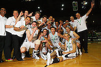 The Tall Blacks celebrate victory during the International basketball match between the NZ Tall Blacks and Australian Boomers at TSB Bank Arena, Wellington, New Zealand on 25 August 2009. Photo: Dave Lintott / lintottphoto.co.nz