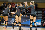 GRAND RAPIDS, MI - NOVEMBER 18: Phoebe Madsen (44) of Claremont-Mudd-Scripps high fives teammate Isabelle Taylor (9) during the Division III Women's Volleyball Championship held at Van Noord Arena on November 18, 2017 in Grand Rapids, Michigan. Claremont-M-S defeated Wittenberg 3-0 to win the National Championship. (Photo by Doug Stroud/NCAA Photos via Getty Images)