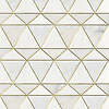 Oliver, a stone waterjet mosaic, shown in venetian honed Dolomite, Afyon White, with Brass.