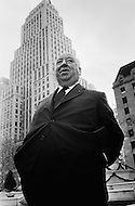 Manhattan, New York City, USA. December 14th, 1969. English film director and master of suspense Alfred Hitchcock at the Plaza Hotel in New York during a press conference to promote his American film 'Topaz'.