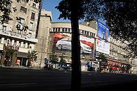 ROMANIA / Bucharest / 23.06.2007 / ..Advertising along Bulevard Nicolae Balcescu in the heart of Bucharest. ..© Davin Ellicson / Anzenberger