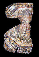 2nd century AD Roman mosaic depictiong Neptune. From Augusti (Sidi El Heni), Tunisia.  The Bardo Museum, Tunis, Tunisia. black background