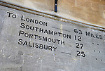 Milestone on exterior of Winchester Guildhall, Hampshire, England