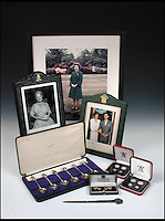 BNPS.co.uk (01202 558833)<br /> Pic: Cheffins/BNPS<br /> <br /> Photographs, silver spoons, coins and cufflinks gifted by the Royal Family to Cyril Dickman that make up the sale.<br />  <br /> Heartwarming unseen letters from Princess Diana in which she speaks of Prince William's love for his younger brother and Prince Harry's rebellious side have emerged for auction.<br /> <br /> In the letters to the late Cyril Dickman, who served as a steward at Buckingham Palace for more than 50 years, she spoke of how William 'could not stop kissing' Harry after he was born in September 1984.<br /> <br /> One particularly touching letter to Mr Dickman, dated March 2, 1985, reads: &quot;William adores his little brother and spends the entire time swamping Harry with an endless supply of hugs and kisses, hardly letting the parents near!&quot; <br /> <br /> The letters will go under the hammer at Cheffins auctioneers on January 5.