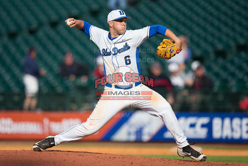 Duke Blue Devils relief pitcher Jack Labosky (6) closes out the game against the Virginia Cavaliers in Game Seven of the 2017 ACC Baseball Championship at Louisville Slugger Field on May 25, 2017 in Louisville, Kentucky.  The Blue Devils defeated the Cavaliers 4-3 to advance to the Semi-Finals. (Brian Westerholt/Four Seam Images)