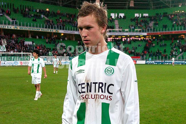 groningen - den haag 26-11-2006 eredivisie seizoen 2006-2007   lindgren treurt na verlies.fotograaf Jan Kanning