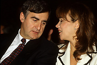 Montreal (Qc) CANADA - File Photo - Jan 1996 -<br /> <br /> Lucien Bouchard,  Leader Parti Quebecois (from Jan 29, 1996 to March 2, 2001). seen in a file photo with his wife Audrey Best.<br /> <br /> After the Yes side lost the 1995 referendum, Parizeau resigned as Quebec premier. Bouchard resigned his seat in Parliament in 1996, and became the leader of the Parti Qu&Egrave;b&Egrave;cois and premier of Quebec.<br /> <br /> On the matter of sovereignty, while in office, he stated that no new referendum would be held, at least for the time being. A main concern of the Bouchard government, considered part of the necessary conditions gagnantes (&quot;winning conditions&quot; for the feasibility of a new referendum on sovereignty), was economic recovery through the achievement of &quot;zero deficit&quot;. Long-term Keynesian policies resulting from the &quot;Quebec model&quot;, developed by both PQ governments in the past and the previous Liberal government had left a substantial deficit in the provincial budget.<br /> <br /> Bouchard retired from politics in 2001, and was replaced as Quebec premier by Bernard Landry.