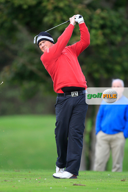 Michael McGeady (Derry) on the 12th tee during Round 4 of The Cassidy Golf 103rd Irish PGA Championship in Roganstown Golf Club on Sunday 13th October 2013.<br /> Picture:  Thos Caffrey / www.golffile.ie
