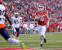 10/31/15<br /> Arkansas Democrat-Gazette/STEPHEN B. THORNTON<br /> Arkansas' quarterback Brandon Allen walks into the end zone for a third quarter TD during their game Saturday in Fayetteville.