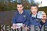Paul Herlihy and David O'Regan, third year students at St Brendans College, Killarney, check the water temperature of the Deenagh River, Killarney, as part of their entry into the BT Young Scientist of the Years Awards this week.