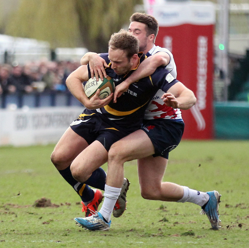 Worcester Warriors Chis Pennell in action during todays game<br /> <br /> Photographer Rachel Holborn/CameraSport<br /> <br /> Rugby Union - Greene King IPA Championship  - Worcester Warriors v London Scottish - Saturday 28th March 2015 - Sixways Stadium - Worcester<br /> <br /> &copy; CameraSport - 43 Linden Ave. Countesthorpe. Leicester. England. LE8 5PG - Tel: +44 (0) 116 277 4147 - admin@camerasport.com - www.camerasport.com