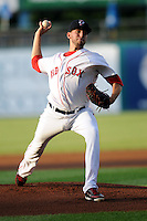 Pawtucket Red Sox starting pitcher Matt Barnes #34 during a game versus the Rochester Red Wings at McCoy Stadium in Pawtucket, Rhode Island on September 7, 2013. (Ken Babbitt/Four Seam Images)