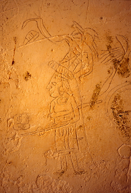 Graffiti in Malers Palace at the Central Acropolis, Tikal National Park, El Peten Department, Guatemala, Central America