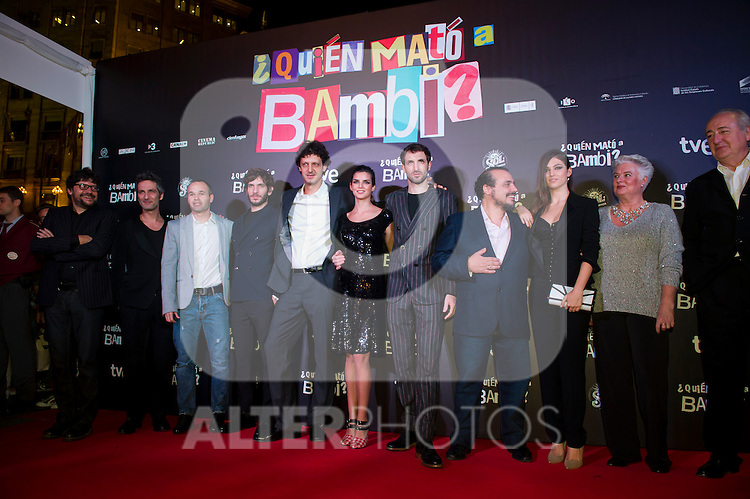 Spanish film director Santi Amodeo, actor Ernesto Alterio, FC Barcelona's football player Andres Iniesta, actor Quim Gutierrez, actor Enrico Vecchi, actress Clara Lago, actor Julian Villagran, actor Joaquin Nuñez, actress Ursula Corbero, producer Mar Targarona and producer Joaquin Padro (left ro right) attend the premiere photocall of the movie '¿Quien mato a Bambi?' at Cine Comedia on November 7, 2013 in Barcelona, Spain. (ALTERPHOTOS/Alex Caparros)