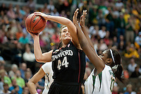 DENVER, CO--Joslyn Tinkle fights for the score against Baylor during the semifinals of the 2012 NCAA Women's Final Four in Denver, CO. The Cardinal fell to the Bears 47-59.
