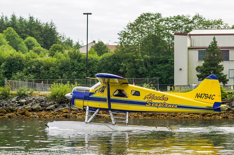 Float plane in Sitka Channel, Sitka, Alaska.