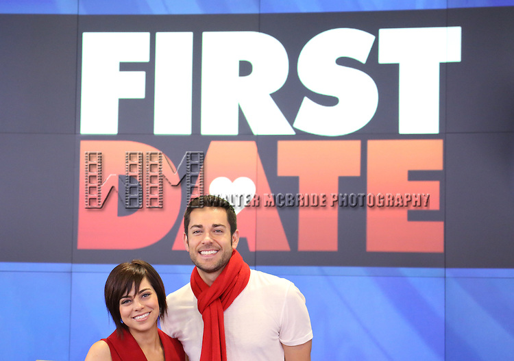 Krysta Rodriquez and Zachary Levi  join the cast of Broadway's 'First Date' to ring the NASDAQ Stock Market Closing Bell in Times Square, New York City on October 16, 2013.