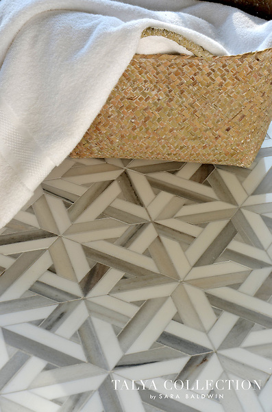 Marmara, a stone mosaic waterjet mosaic shown in Skyline and Snow White, is part of the Talya Collection by Sara Baldwin for Marble Systems.